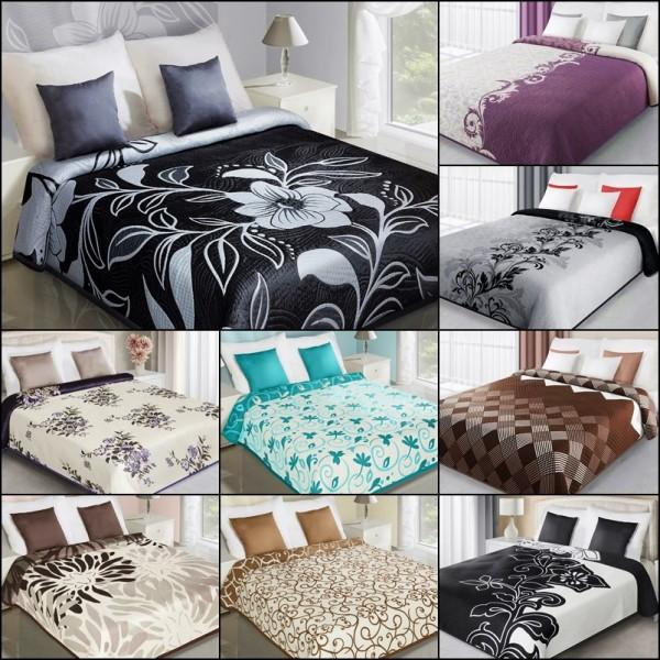 zweiseitige tagesdecke bett berwurf doppelseitig 170x210 220x240 230x260 elegant ebay. Black Bedroom Furniture Sets. Home Design Ideas