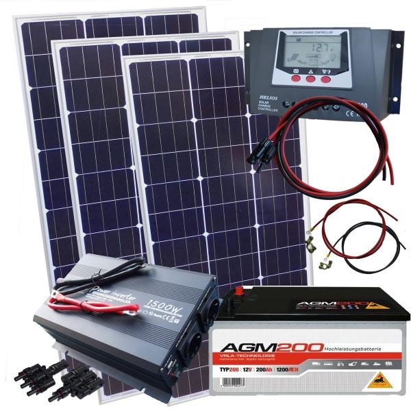 solarmodul solaranlage 390 watt mit 200ah batterie und 1500w spannungswandler ebay. Black Bedroom Furniture Sets. Home Design Ideas