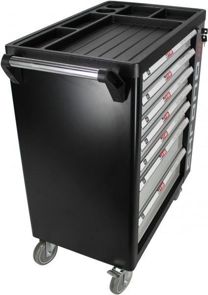 werkstattwagen mit werkzeug werkzeugwagen schwarz werkzeugschrank werkzeugkiste ebay. Black Bedroom Furniture Sets. Home Design Ideas