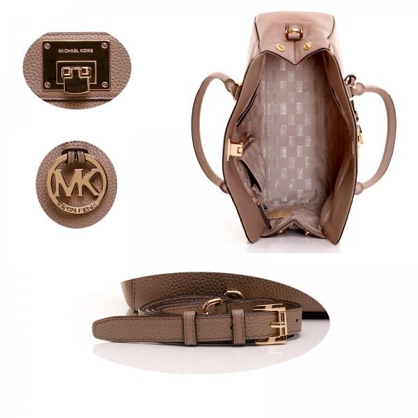 michael kors astrid taupe lg satchel leather tasche bag leder grau. Black Bedroom Furniture Sets. Home Design Ideas