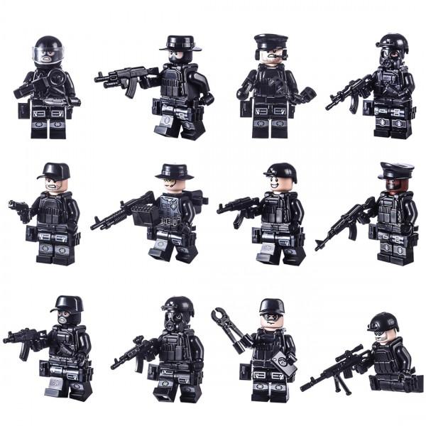 12 mann custom brick polizei swat team mit ausrüstung für