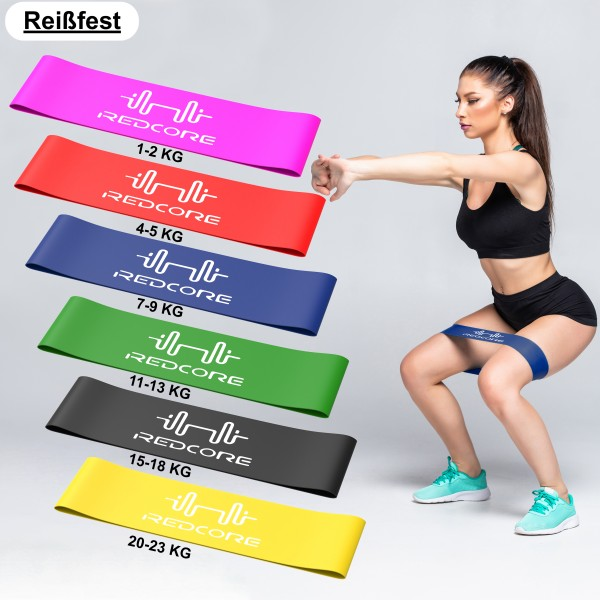 Fitnessbänder 6er Set Widerstandsband 8 Stärken Resistanceband Stretching Band d