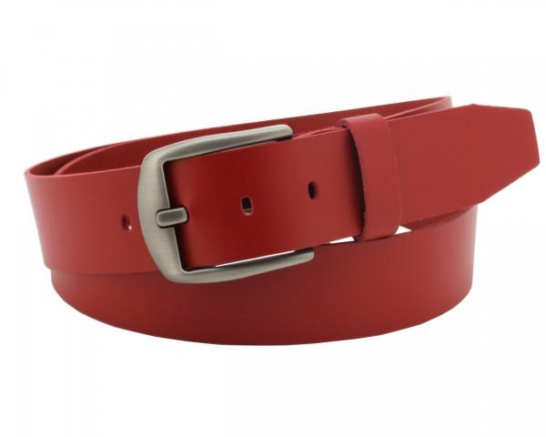 Zonarius Ledergürtel Damen und Herren Gürtel aus Rindleder 4cm breit Rot