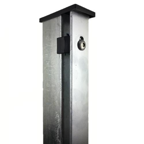 Pfosten mit Abdeckleiste 60x40mm für Doppelstabmattenzaun Flachleiste VERZINKT