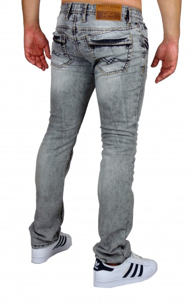 Details zu Rusty Neal Herren Jeans Quebec Regular Fit Used Look R Neal Grau Dicke Nähte