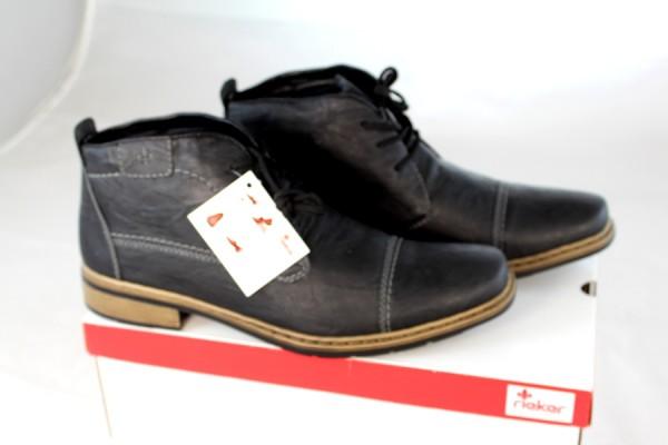 Details zu RIEKER Herren Schnürschuhe Stiefelette schwarz Lederimitat Gr 45 46 NEU Z19