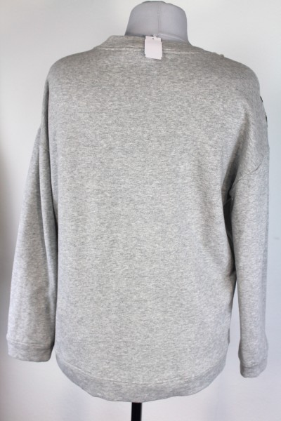 Details zu Cooles OUI Damen Sweatshirt Pullover Applikationen grau Cotton Gr 40 NEU A375