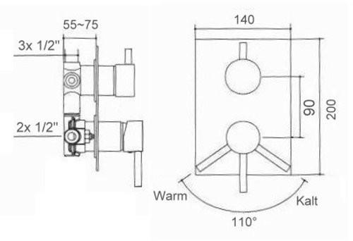 welfenstein unterputz armatur 3 wege umsteller 3 fach dusche wannen h bm34020 ebay. Black Bedroom Furniture Sets. Home Design Ideas