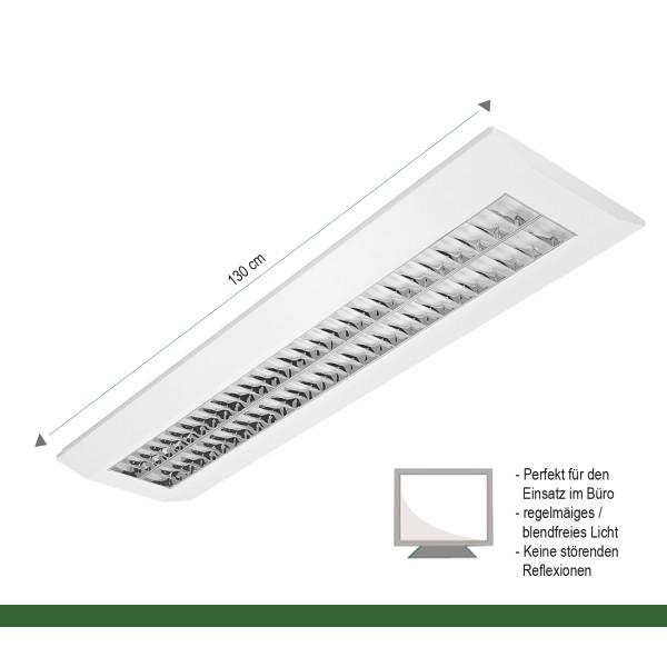 4000K Anbau 1500mm Büroleuchte BAP-Raster 55 Watt LED Rasterleuchte