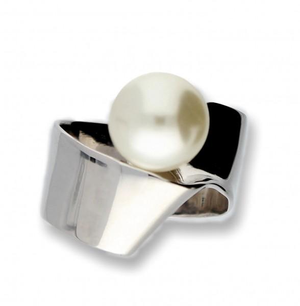 Details zu Design 925 Silber RING mit SWAROVSKI Perle, Weiß, White Pearl, SEHR EDEL