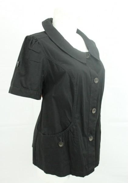 damen kurzarm jacke blazer bluse schwarz gr 48 ebay. Black Bedroom Furniture Sets. Home Design Ideas