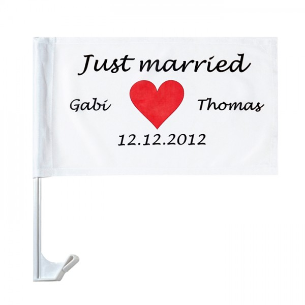 Ballons Auto Fahne Flagge Hochzeit Justmarried 20x Autofahne Just Married Motiv