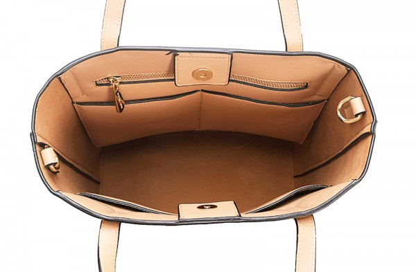 michael kors emry lg ns tote leather bisque handtasche large tasche bag beige ebay. Black Bedroom Furniture Sets. Home Design Ideas