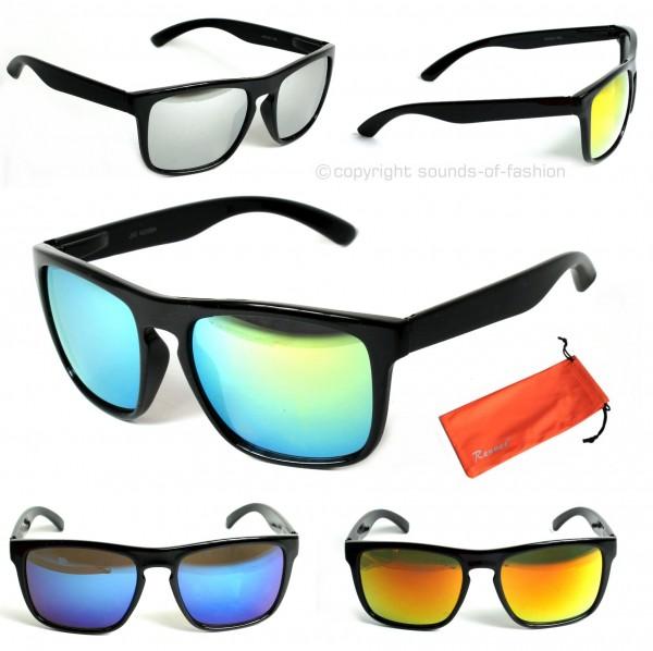 gro e rechteck sonnenbrille verspiegelt retro nerd brille. Black Bedroom Furniture Sets. Home Design Ideas