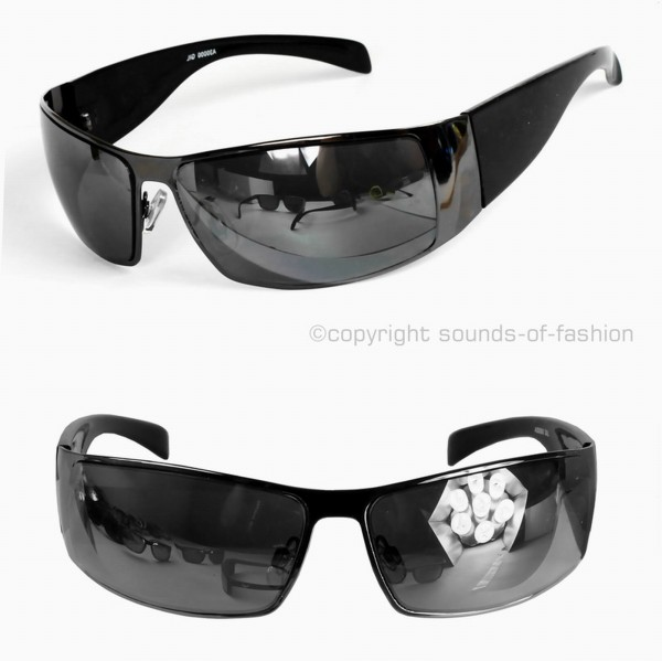 herren sonnenbrille sport chrom silber blau schwarz matt verspiegelt metall ebay. Black Bedroom Furniture Sets. Home Design Ideas