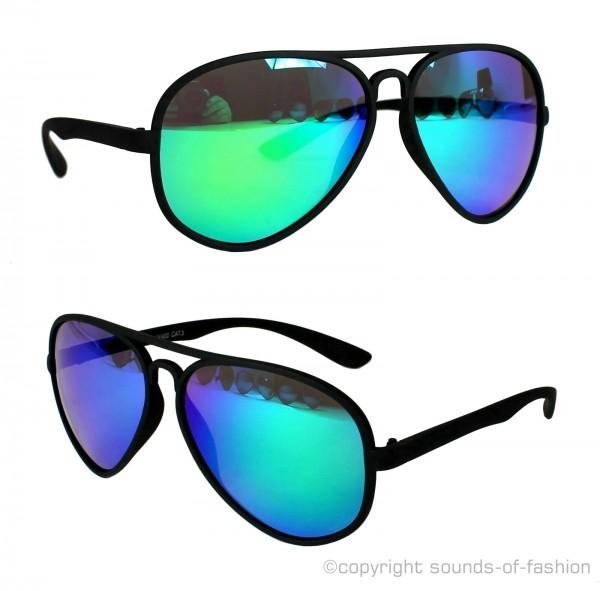 sonnenbrille aviator pilotenbrille verspiegelt blau gr n. Black Bedroom Furniture Sets. Home Design Ideas