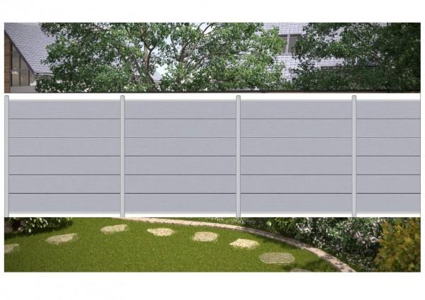 komplett set f r 10 90 meter wpc steckzaun sichtschutz zaun xl farbe grau ebay. Black Bedroom Furniture Sets. Home Design Ideas