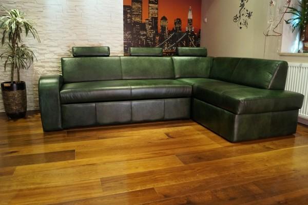 Gr n echtleder ecksofa echt leder rindsleder sofa couch - Ecksofa grun ...