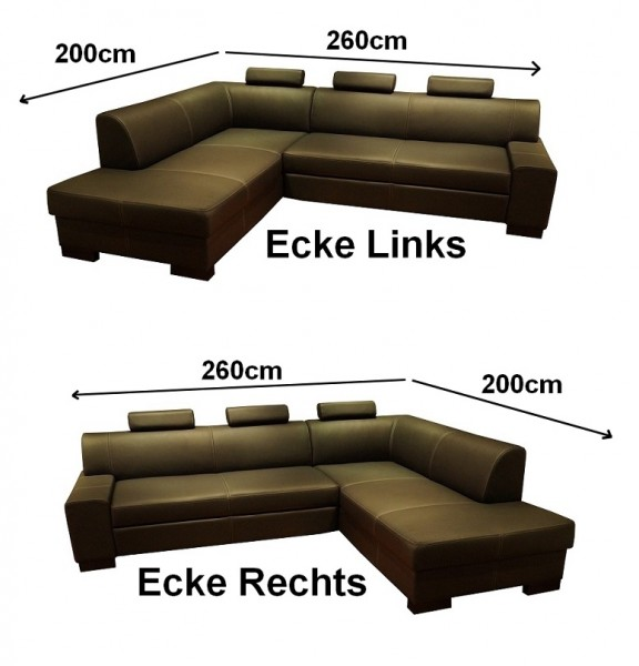 Echt leder ecksofa 260 x 200 rindsleder eckcouch sofa mit for Ecksofa 230 cm breit