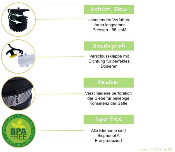 Greenis Slow Juicer Entsafter BPA-frei wahlweise in schwarz, rot, silber, grun eBay
