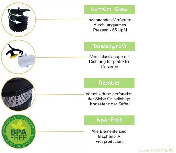Entsafter Slow Juicer Bpa Frei : Greenis Slow Juicer Entsafter BPA-frei wahlweise in grun, rot, silber, schwarz