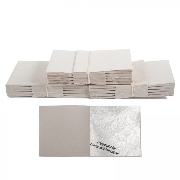 überzugslack 100 auténtico hoja hoja de plata 6 x 6 cm real plata anlegemilch