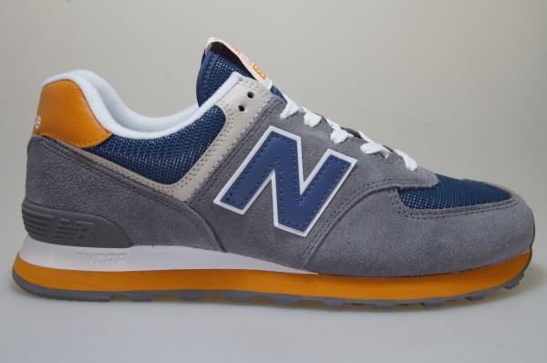 Détails sur New Balance Ml 574 Muc GrisBleu Orange Chaussures Baskets Hommes