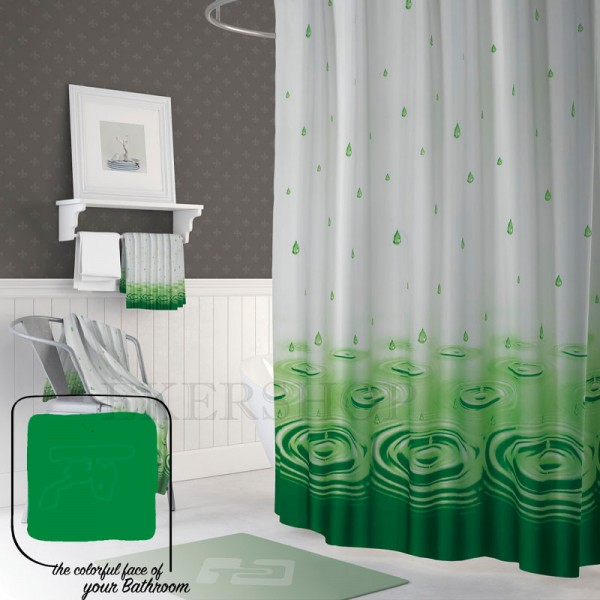 Textiler Duschvorhang Wassertropfen 180x200 bunt Badezimmer Vorhang Badevorhang