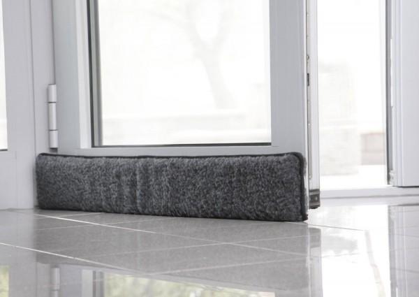 schurwoll zugluftstopper t rdichtung f r t r 100x15x5cm anthrazit grau ebay. Black Bedroom Furniture Sets. Home Design Ideas
