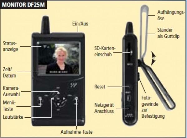 funk berwachungskamera set mit 2 5 tft monitor und. Black Bedroom Furniture Sets. Home Design Ideas